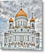 Christ The Saviour Cathedral In Moscow. The Main Entrance Metal Print