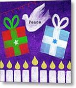 Christmas And Hanukkah Peace Metal Print