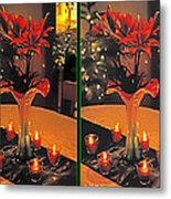 Christmas Arrangement - Gently Cross Your Eyes And Focus On The Middle Image Metal Print