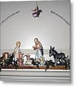 Christmas Blessings Creche Metal Print
