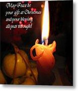Christmas Candle Peace Greeting  Metal Print
