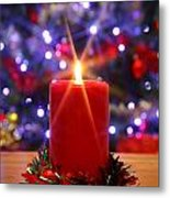 Christmas Candle With Starburst And Decorated Tree Background. Metal Print