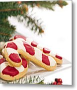 Christmas Cookies Decorated With Real Tree Branches Metal Print