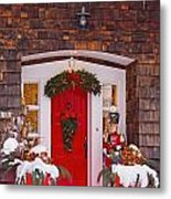 Christmas Decorations Around A Front Metal Print