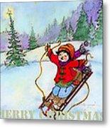 Christmas Joy Child On Sled Metal Print
