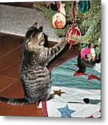 Christmas Kitten Playtime Metal Print
