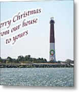 Christmas Lighthouse Card - From Our House To Yours Card Metal Print