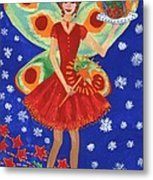 Christmas Pudding Fairy Metal Print