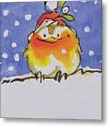Christmas Robin Metal Print