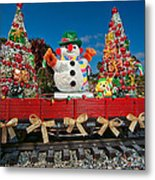 Christmas Snowman On Rails Metal Print