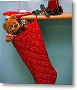 Christmas Stocking Filled With Presents With Empty Milk Glass.  Metal Print