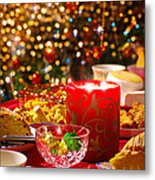 Christmas Table Set Metal Print by Carlos Caetano