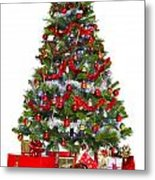 Christmas Tree And Presents Isolated On White Metal Print