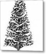Christmas Tree Bw Metal Print