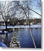 Christmas Tree By The Lake Metal Print