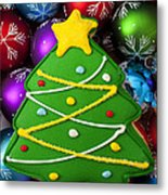 Christmas Tree Cookie With Ornaments Metal Print