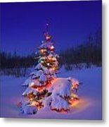 Christmas Tree Glowing Metal Print