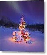 Christmas Tree Glowing Under The Metal Print