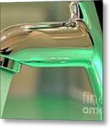 Chrome Sink Tap With Running Water Metal Print