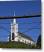 Church And Barbed Wire Metal Print
