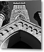 Church Facade In Black And White Metal Print