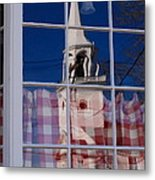 Church In Cafe Window Metal Print