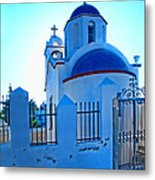 Church Oia Santorini Greece Metal Print