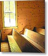 Church Pews - Light Through Window Metal Print
