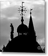 Church Spires Silhouetted Bw Metal Print