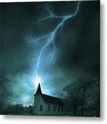 Church Struck By Lightning Metal Print
