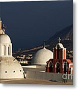 Churches In Fira Greece Metal Print