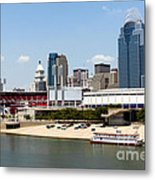 Cincinnati Ohio Skyline And Riverfront Metal Print