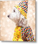 Circus Clown Dog Metal Print