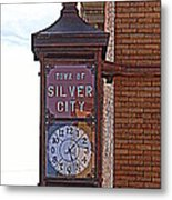 City Clock In Silver City Nm Metal Print