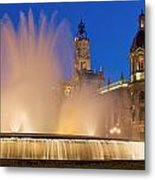 City Hall And Fountain At Dusk Metal Print