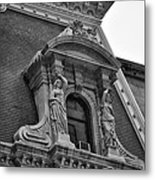 City Hall Window In Black And White Metal Print