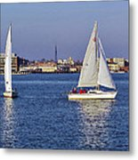 City Harbor Sailing Metal Print