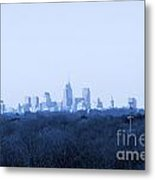 City In The Distance Blue Tint Metal Print