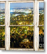 City Lights White Rustic Picture Window Frame Photo Art View Metal Print