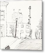 City Street - Sketch Metal Print by Robert Meszaros