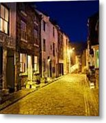 City Street At Night, Staithes Metal Print