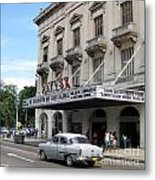 Classic Auto And Old Movie Theatre Metal Print