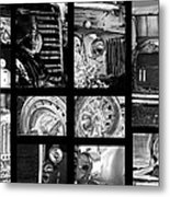 Classic Car Collage In Black And White Metal Print