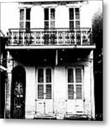 Classic French Quarter Residence New Orleans Black And White Conte Crayon Digital Art Metal Print