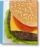 Classic Hamburger With Cheese Tomato And Salad Metal Print