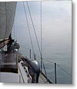Classic Wooden Sailboat With No Horizon Off The Bow Metal Print
