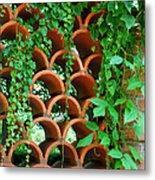 Clay Pattern Wall With Vines Metal Print