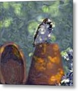 Clay Pot Sparrow Metal Print