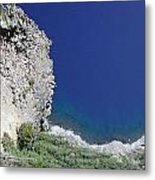 Cliff And Beach At Crater Lake Metal Print