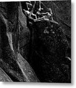 Cliff Dancers Black And White Metal Print